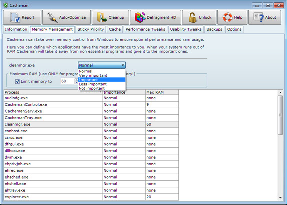 Cacheman (2 Computer License), Software Utilities Screenshot