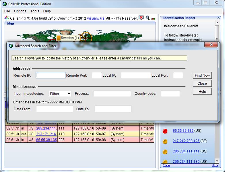 CallerIP Advanced, Activity Monitoring Software Screenshot