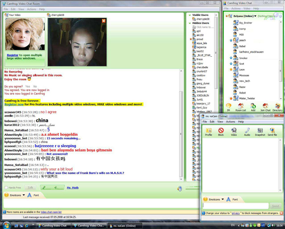 Camfrog Video Chat, Internet Software, Instant Messaging Software Screenshot