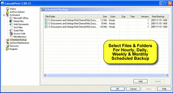 CascadePoint, Backup Cloud Software Screenshot