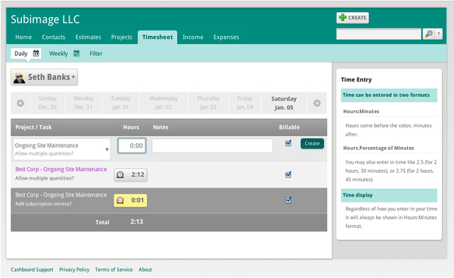 Finance Software, Cashboard Screenshot