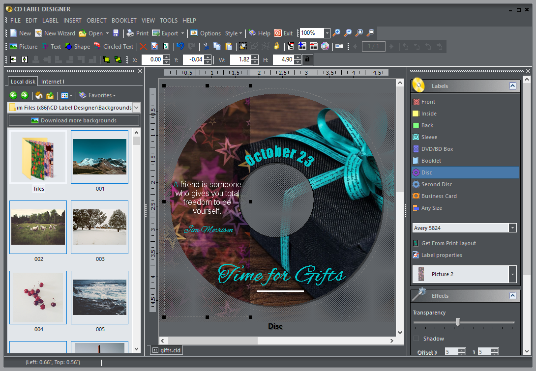 CD Label Designer Screenshot