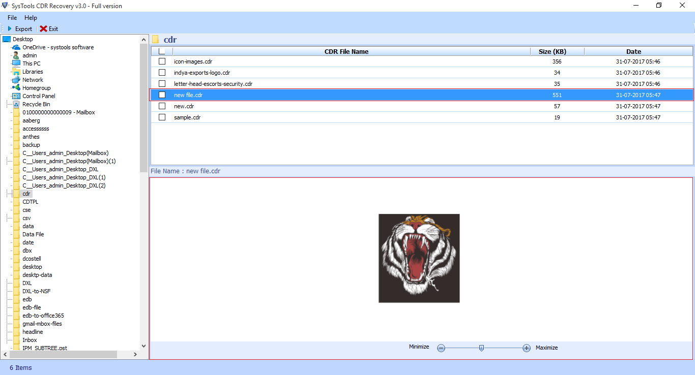 CDR Recovery Screenshot