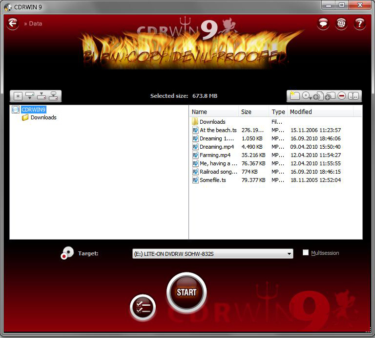 CDRWIN 9, DVD Burner Software Screenshot
