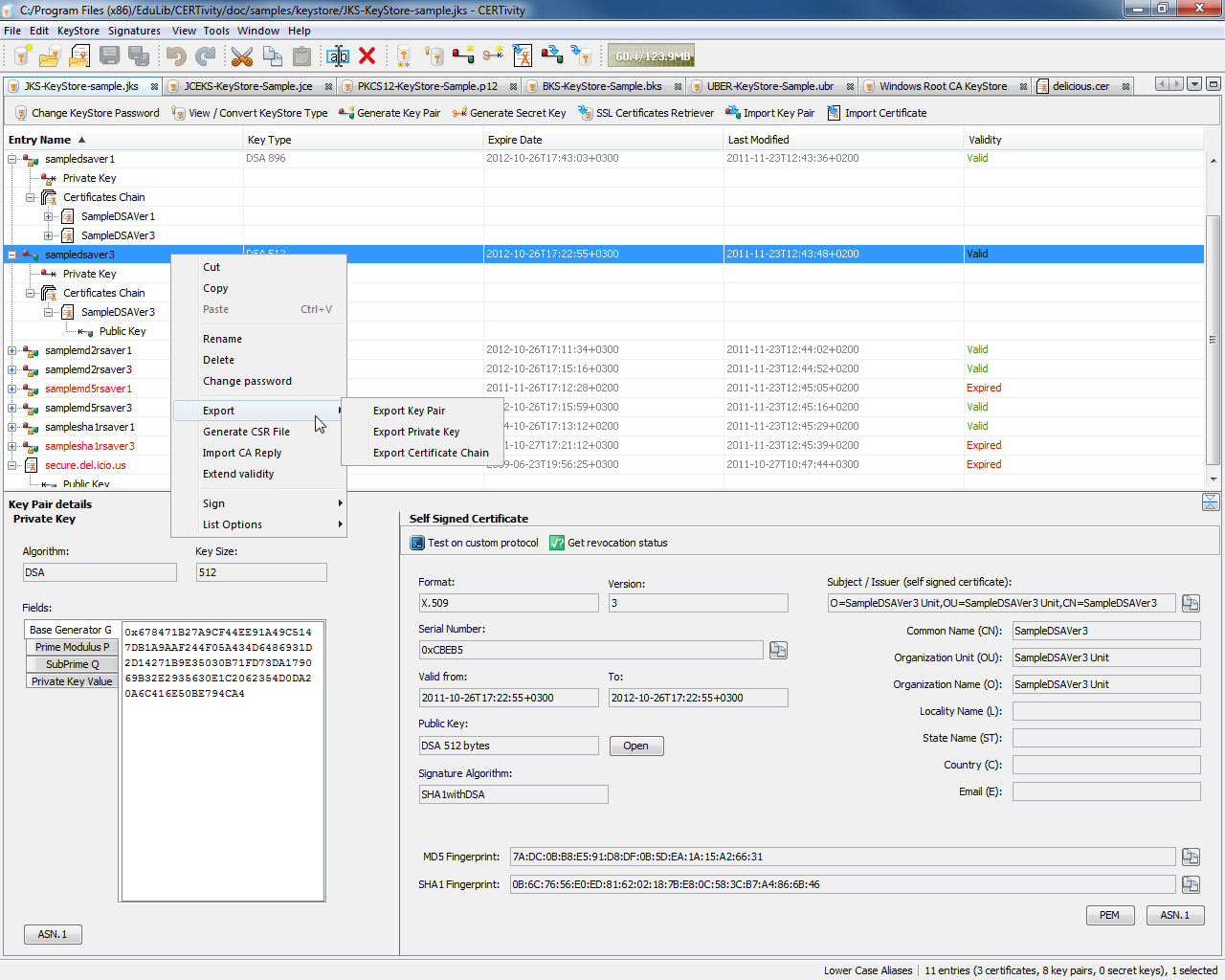 CERTivity KeyStores Manager Professional, General Security Software Screenshot
