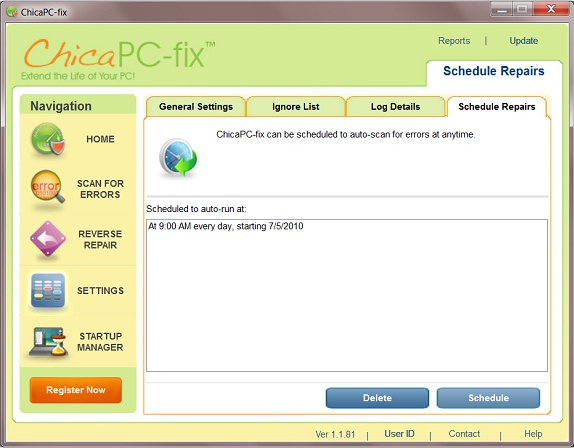 ChicaPC-fix, Registry Cleaner Software Screenshot