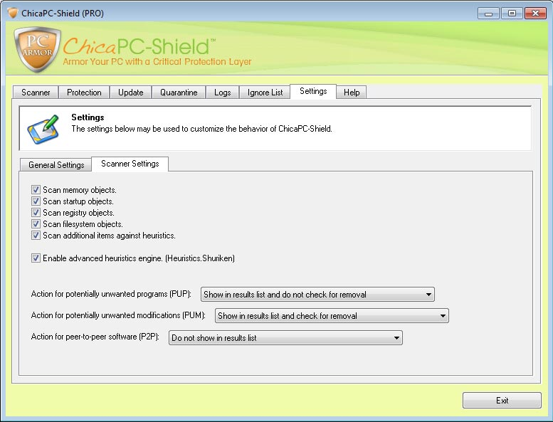 ChicaPC-Shield and ChicaPC-Fix, Internet Security Software Screenshot