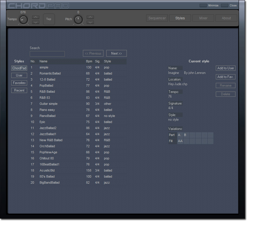 Music Software Screenshot