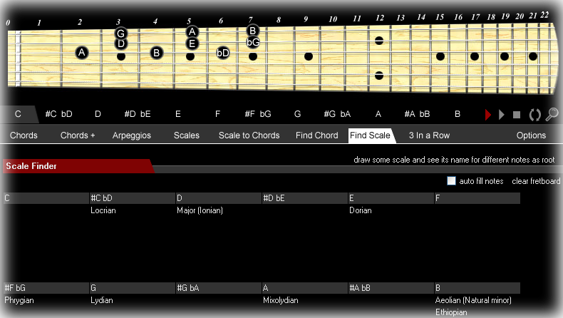 Chords & Scales, Hobby, Educational & Fun Software Screenshot