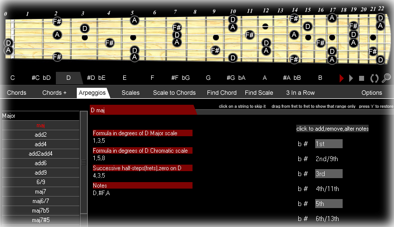 Chords & Scales, Educational Software Screenshot