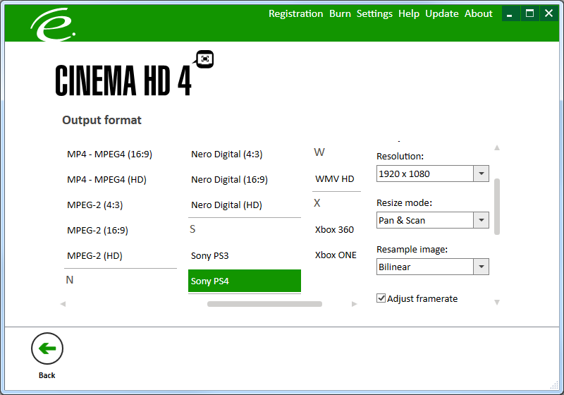 CinemaHD 4, Video Converter Software Screenshot