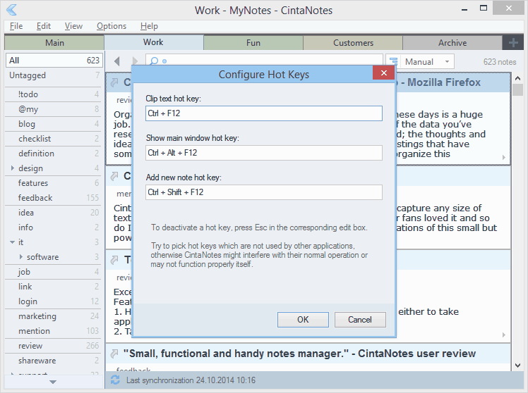 Notes Software, CintaNotes Screenshot