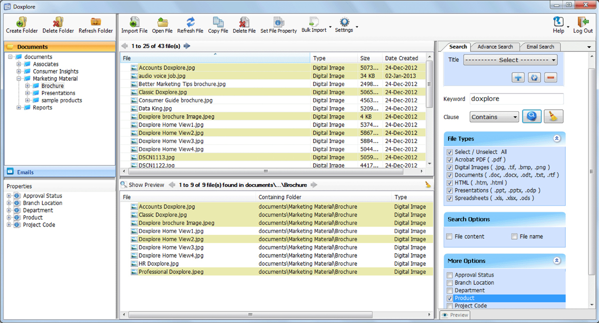 Classic Doxplore, Document Management Software Screenshot