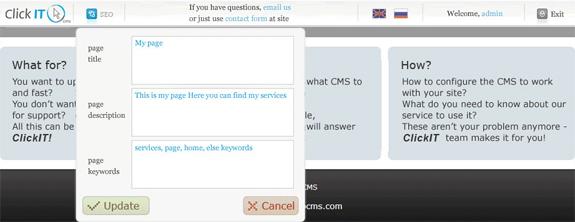 Website Builder Software, Click IT CMS Screenshot