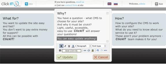 Click IT CMS, Website Builder Software Screenshot