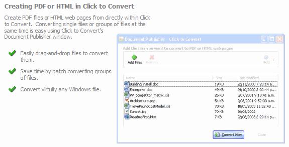 Click to Convert PDF Converter, PDF Conversion Software Screenshot
