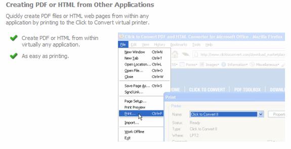 Click to Convert PDF Converter, Business & Finance Software Screenshot