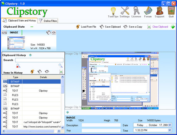 Clipboard Software, Clipstory Screenshot