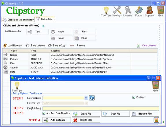 Desktop Customization Software, Clipstory Screenshot