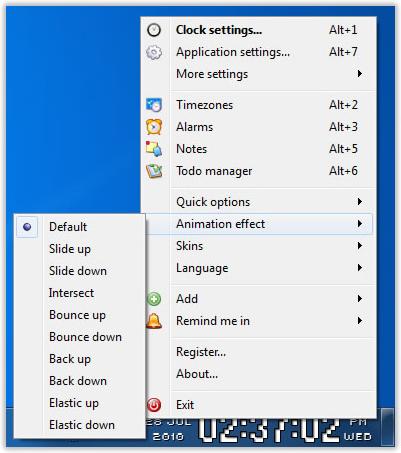 Desktop Customization Software, Clock-on-Tray Screenshot
