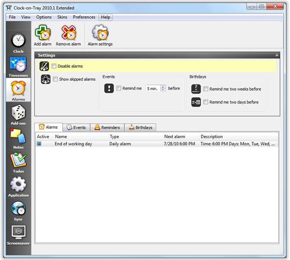 Clock Software Screenshot