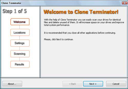 Clone Terminator Screenshot