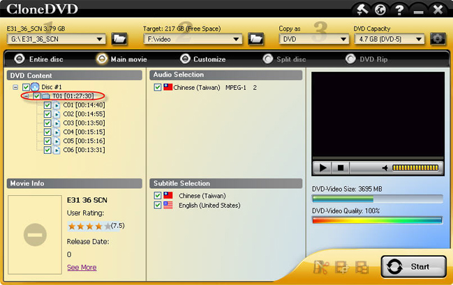 CloneDVD, DVD Copy Software Screenshot