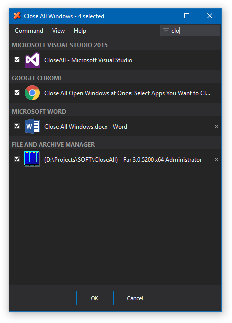 Close All Windows, Task Manager Software Screenshot