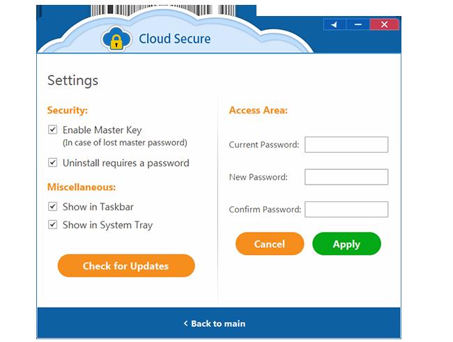 Cloud Secure, Access Restriction Software Screenshot