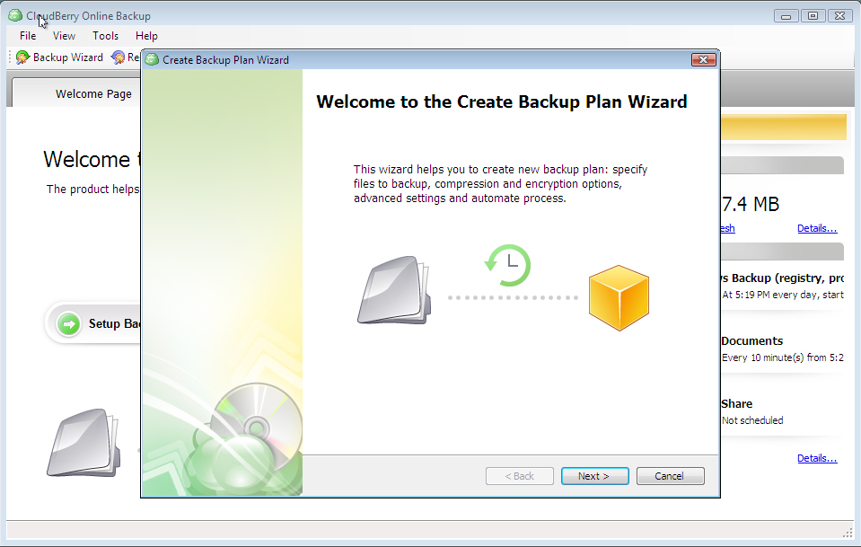 CloudBerry Backup, Security Software Screenshot
