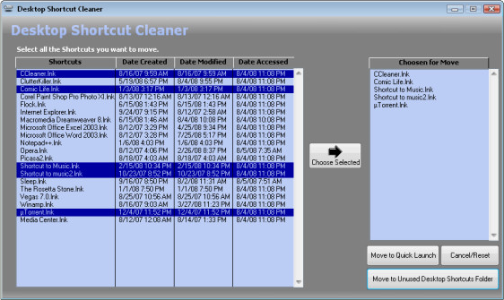 Desktop Space Software, ClutterKiller Screenshot