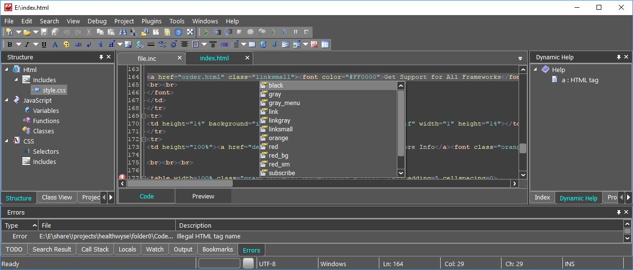 Web Development Software Screenshot