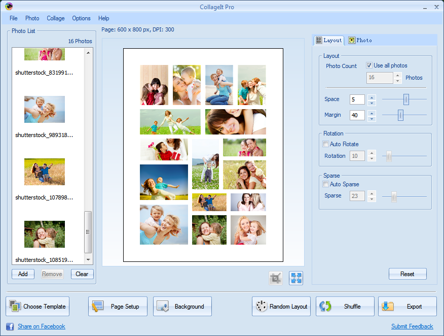 CollageIt Pro, Graphic Design Software Screenshot