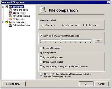 PDF Utilities Software, Compare PDF Screenshot