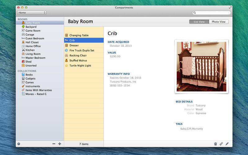 Compartments, Organization Software Screenshot