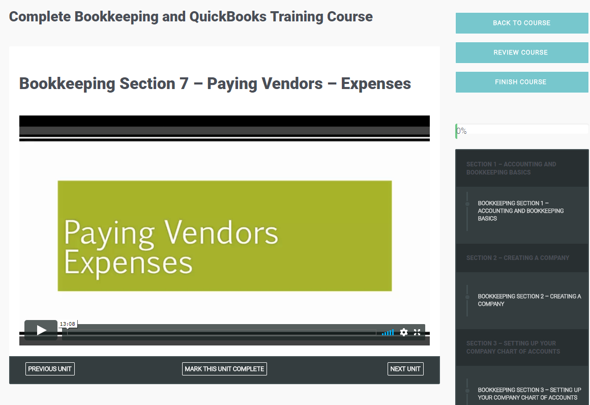 Complete Bookkeeping and QuickBooks Training Course, Learning and Courses Software Screenshot