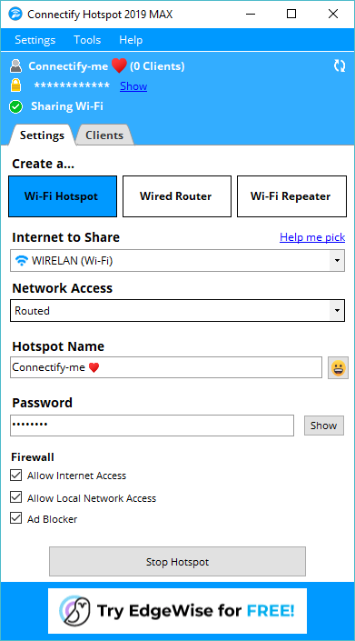 Connectify Hotspot MAX Screenshot