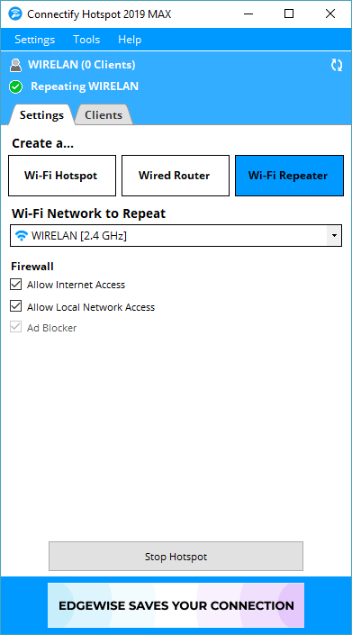 Connectify Hotspot MAX, Network Software Screenshot
