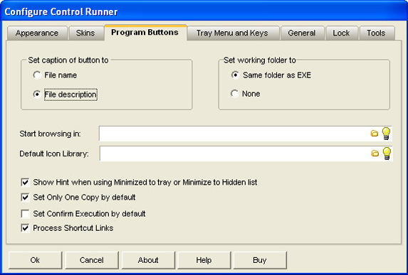 Control Runner, Desktop Customization Software Screenshot