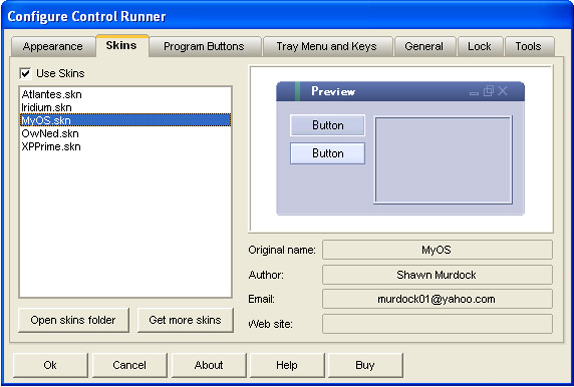 Control Runner, App Launcher Software Screenshot