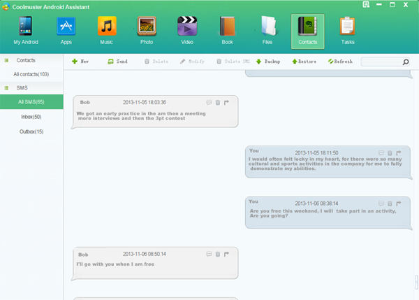 Coolmuster Android Assistant for Mac, Backup and Restore Software Screenshot