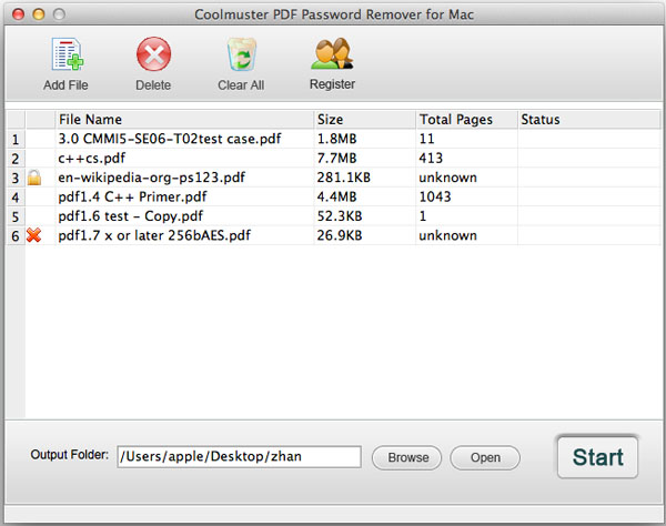 Coolmuster PDF Password Remover for Mac Screenshot