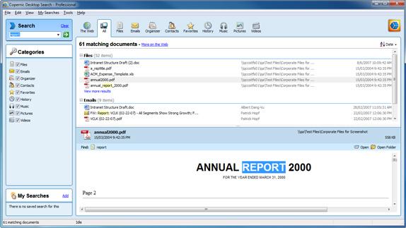 Copernic Desktop Search Professional Screenshot