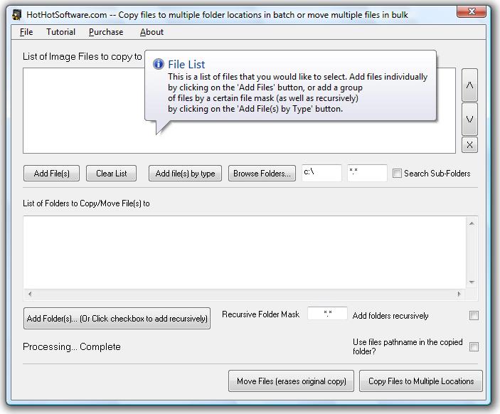 Copy or Move files to Multiple Folders Screenshot