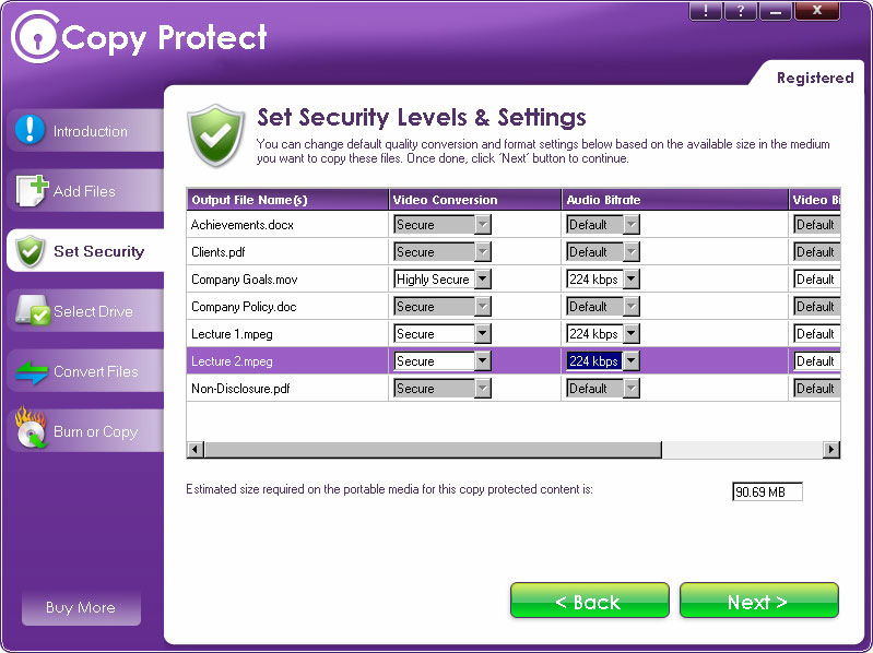 Copy Protect, Access Restriction Software Screenshot