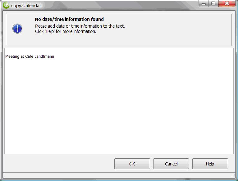 Productivity Software, copy2calendar Screenshot