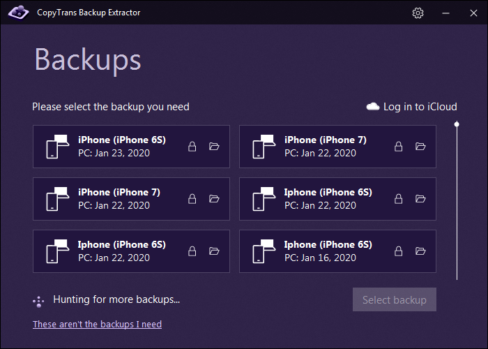 CopyTrans Backup Extractor, Recovery Software Screenshot