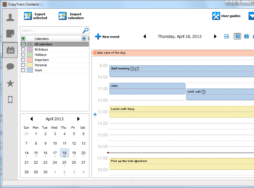 CopyTrans Contacts, Contact Management Software Screenshot