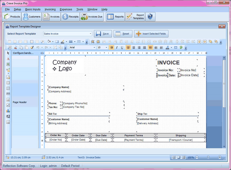 CraveInvoice, Accounting Software Screenshot
