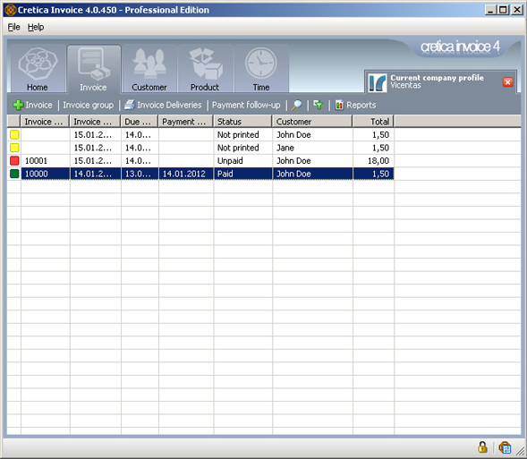 Business & Finance Software, Cretica Invoice Professional Screenshot